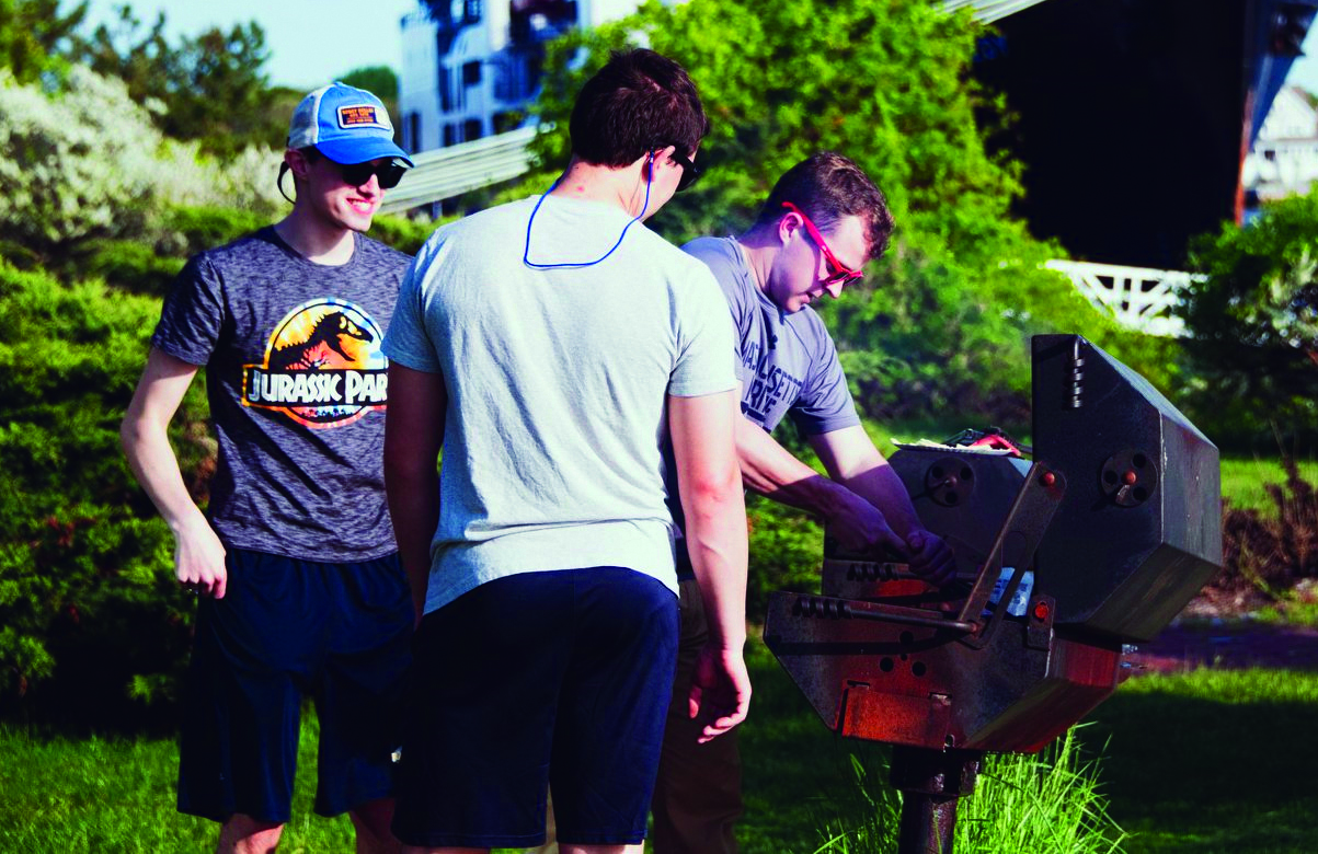 photo of students cooking out