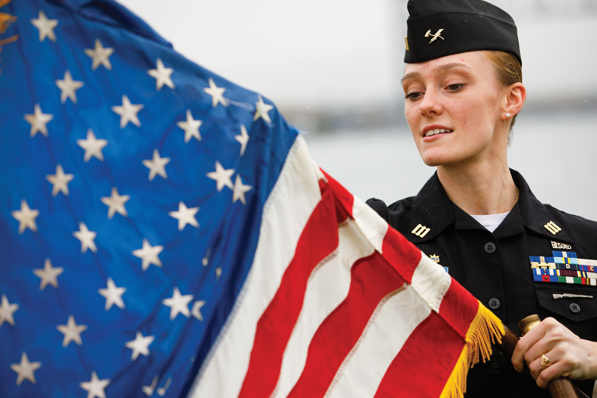 cadet with american flag